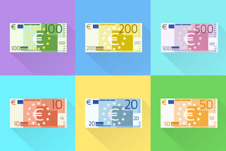 Euro Banknote Set Flat Design with Shadow Vector