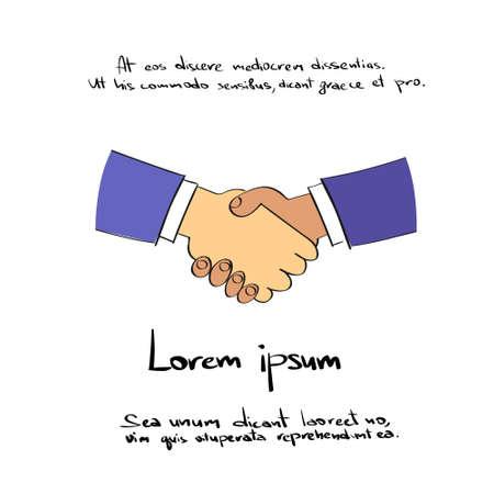 logo handshake: Handshake Logo Hand Draw Color Icon Vector