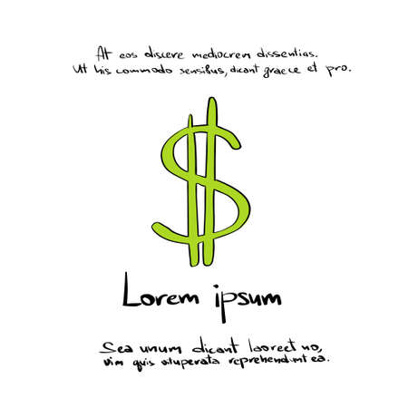 Dollar Währung Geldschein Grün Hand Zeichnen Farbe Icon Vector