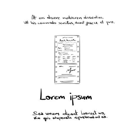 invoice: Financial Bill Hand Draw Logo Document, Invoice Order