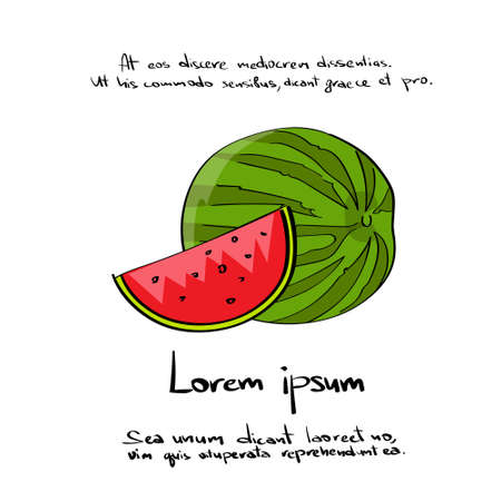 diet cartoon: Watermelon Cut Hand Draw  Color Icon Set Vector Illustration Illustration