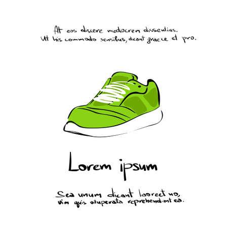Sneaker Sport Shoe Hand Draw Color Icon Vector Illustration Vector