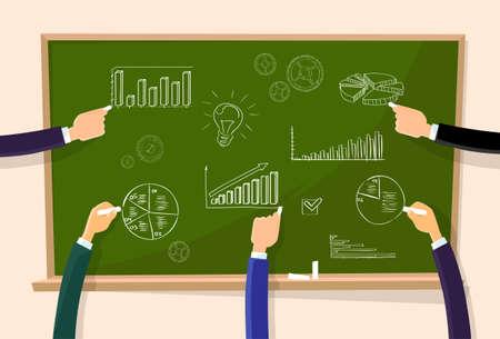 green board: Finance Chart Graphics Hand Chalk Draw Green Board Illustration