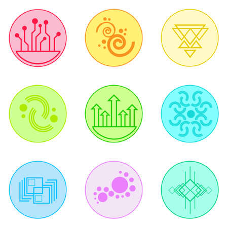 simple logo: Abstract Logo Icons Set Thin Line Simple Colorful Collection