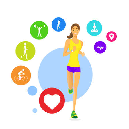 run woman: Sport Donna Run fitness App Tracker Icons Wearable Technologies
