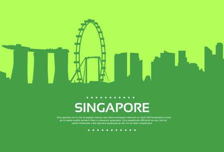 singapore building: Singapore Skyline City Skyscraper Silhouette Flat