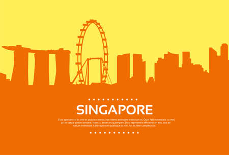 singapore cityscape: Singapore Skyline City Skyscraper Silhouette Flat