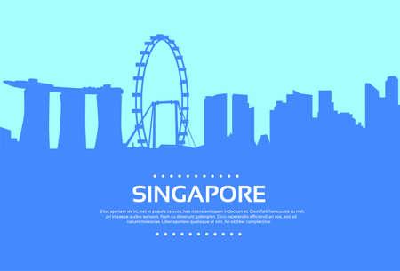 singapore skyline: Singapore Skyline City Skyscraper Silhouette Flat