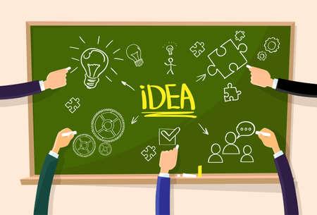 green board: Hand Draw Idea Concept Chalk on Green Board Light Bulb
