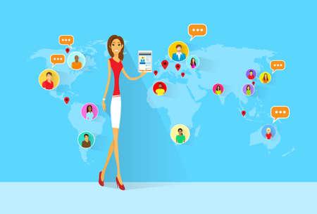 vrouw met tablet: Woman Social Network International Communication Tablet Stock Illustratie