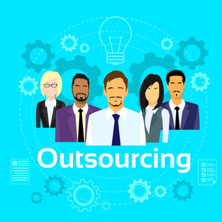 diverse business team: Business People Outsourcing Team Diverse Group Flat