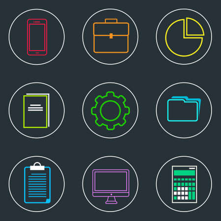 accounting logo: Business Icons Set Thin Line Simple Colorful Collection