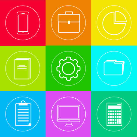 estuche: Los iconos de negocios Set Thin Line simple colección colorida Vectores