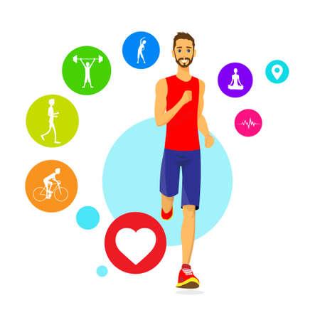 cuerpo hombre: Deporte Hombre Run fitness App Rastreador Iconos Wearable tecnologías inteligentes