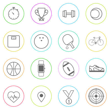 Sport Fitness Icons Set Thin Line Simple Colorful Vector