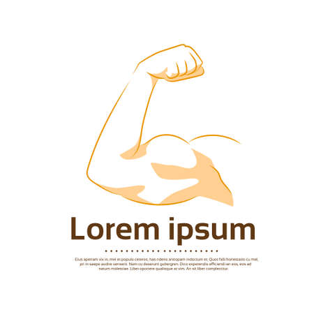 biceps: Biceps Logo Color Icon Strong Arm Flexing Muscle Vector Illustration