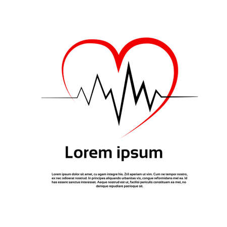 Heart Pulse Logo Red Icon Vector Illustration Çizim