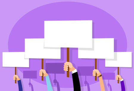 protest poster: Group of People Hands Crowd Hold Placard Sign Board Blank with Copy Space Flat Design Vector illustration