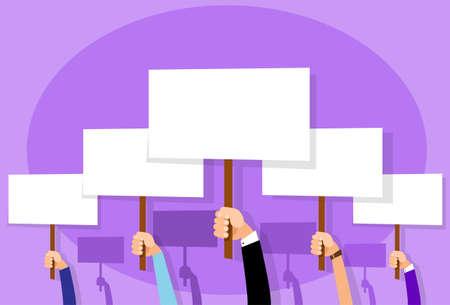 activism: Grupo de personas de manos Multitud Hold Cartel Muestra de la tarjeta en blanco con la ilustraci�n Espacio plana dise�o vectorial Vectores
