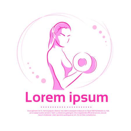 levantamiento de pesas: Asimiento de la mujer con mancuernas B�ceps Logo Color Rosa Sport Icon Gimnasio Muscle Ilustraci�n vectorial Ejercicio