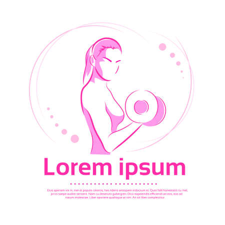 body building exercises: Woman Hold Dumbbell Biceps Logo Color Pink Sport Icon Gym Muscle Exercise Vector Illustration