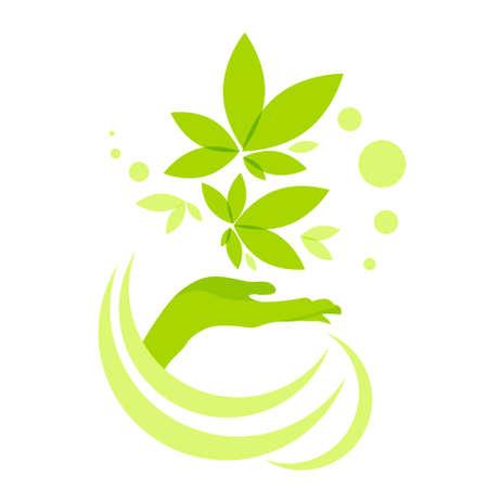 Hand Hold groene bladeren logo pictogram op een witte achtergrond vector illustratie Stock Illustratie