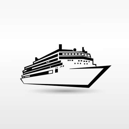 クルーズ船のロゴの黒いアイコン ベクトル図