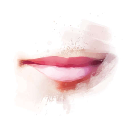smile face: Realistic Female Lips Color Paint Drawing Vector Illustration
