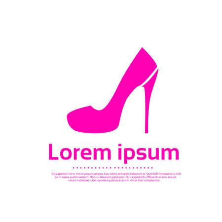 high heel: High Heel Women Shoes Pink Icon Logo Vector Illustration