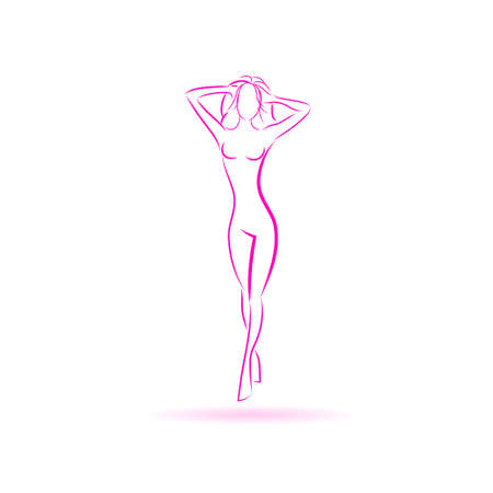 icons: Female Body Logo Pink Icoon Vector Illustration