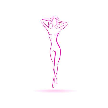 figuras abstractas: Mujer Logo Cuerpo Ilustración rosada del vector del icono Vectores