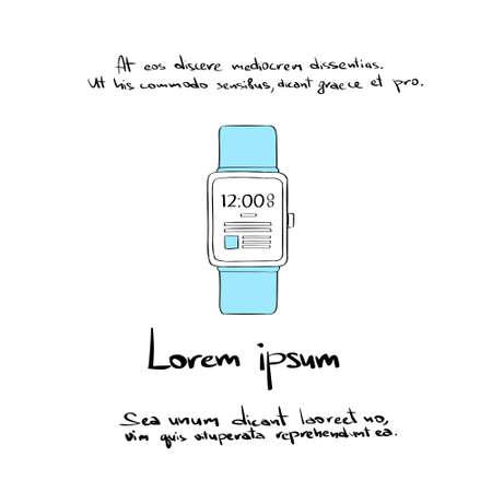 Smart Watch Hand Draw Color Icon Vector Illustration Vector