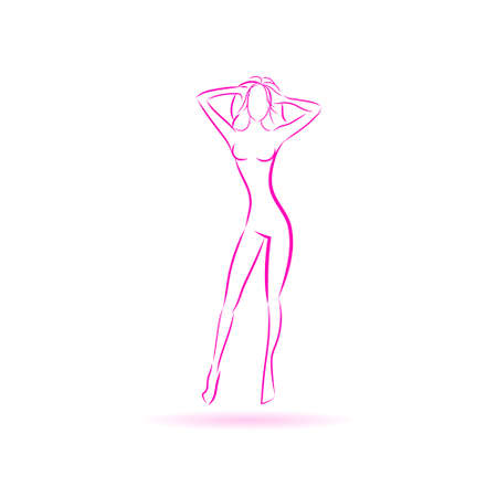 body line: Female Body Logo Pink Icon Vector Illustration