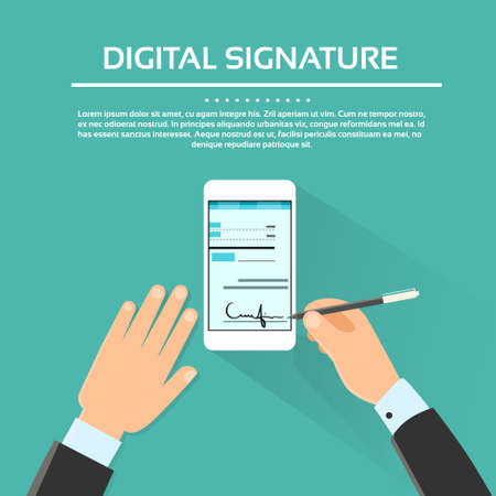smart phone hand: Digital Signature Smart Cell Phone Businessman Hands Sign Up