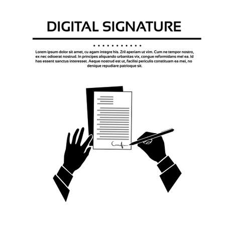contract signing: Business Man Document Signature Black Hands Silhouette Signing Up Contract