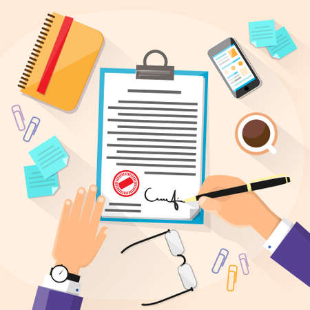 financial agreement: Business Man Signature Document Signing Up Contract, Businessman Sign Illustration
