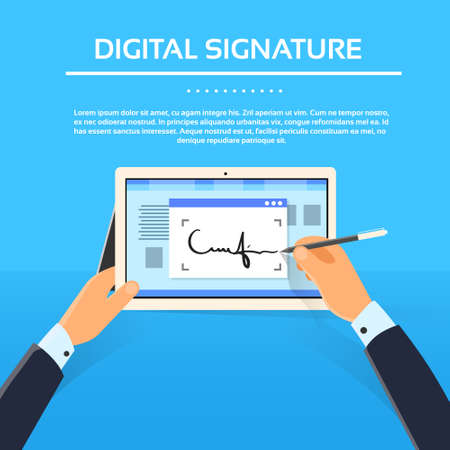 contracts: Digital Signature Tablet Computer Businessman Hands Sign Up