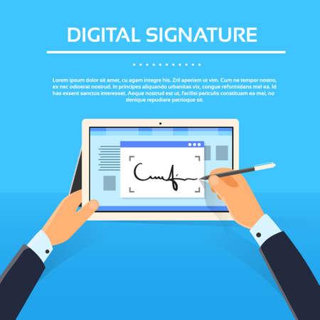 contrato de trabajo: Manos del hombre de negocios firma digital Tablet Computer Registrarse