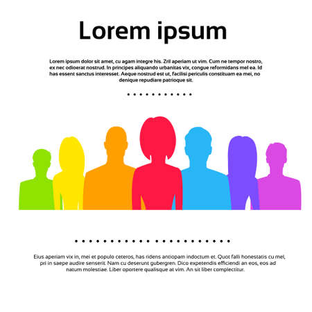 business woman: People Group Colorful Silhouettes Icons Vector Illustration