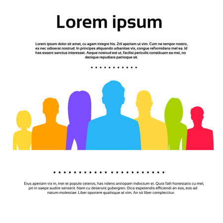 People Group Colorful Silhouettes Icons Vector Ilustração