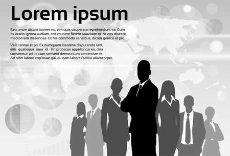 standing: Business People Group Silhouette Executives Team