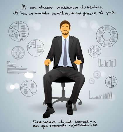 caucasians: Businessman Executive Sitting Chair over Gray Finance Illustration