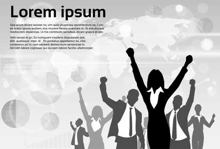 Business People Group Silhouette Opgewonden Hold Hands Up Opgeheven Wapens Stock Illustratie
