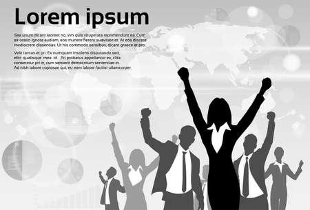 leader: Grupo de hombres de negocios siluetean Hold Emocionado Hands Up Alzar los brazos
