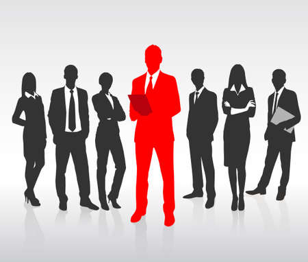 one people: Red Businessman Silhouette, Black Business People Group Team Concept