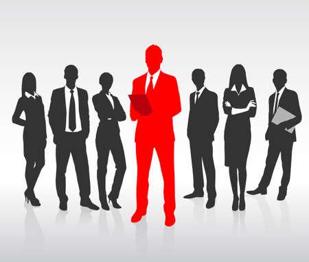 menschenmenge: Red Businessman Silhouette, Schwarz Gesch�ftsleute Gruppe Team-Konzept Illustration