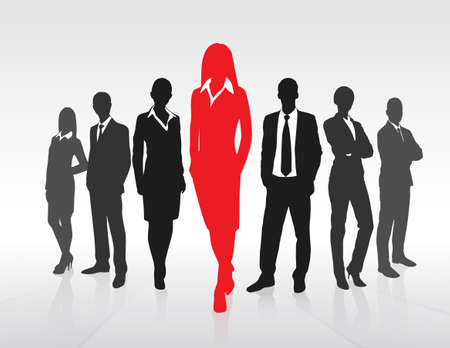 leadership: Red Businesswoman Silhouette, Black Business People Group Team Concept