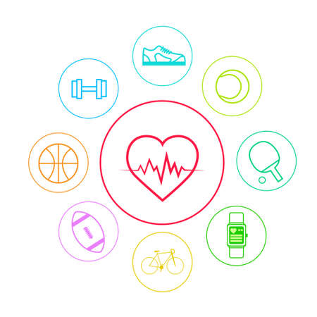 Heart Sport Fitness App Icons Set Thin Line Simple Colorful Vector