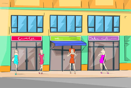fashion building: Shopping Mall Building Exterior Fashion Woman Shop Vector Stock Photo