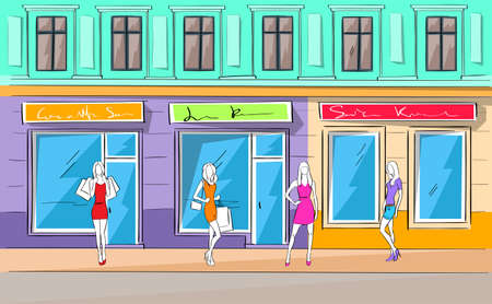 boutique display: Shopping Mall Building Exterior Fashion Woman Shop Vector Illustration